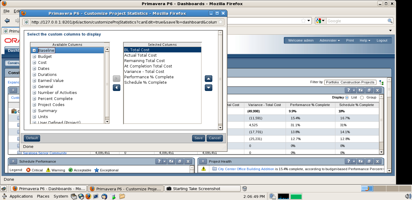 Primavera software and the project statistics portlet primavera project statistics portlet in primavera p6 r8 projstat61 baditri Image collections
