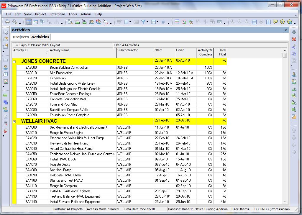 Assign activity codes