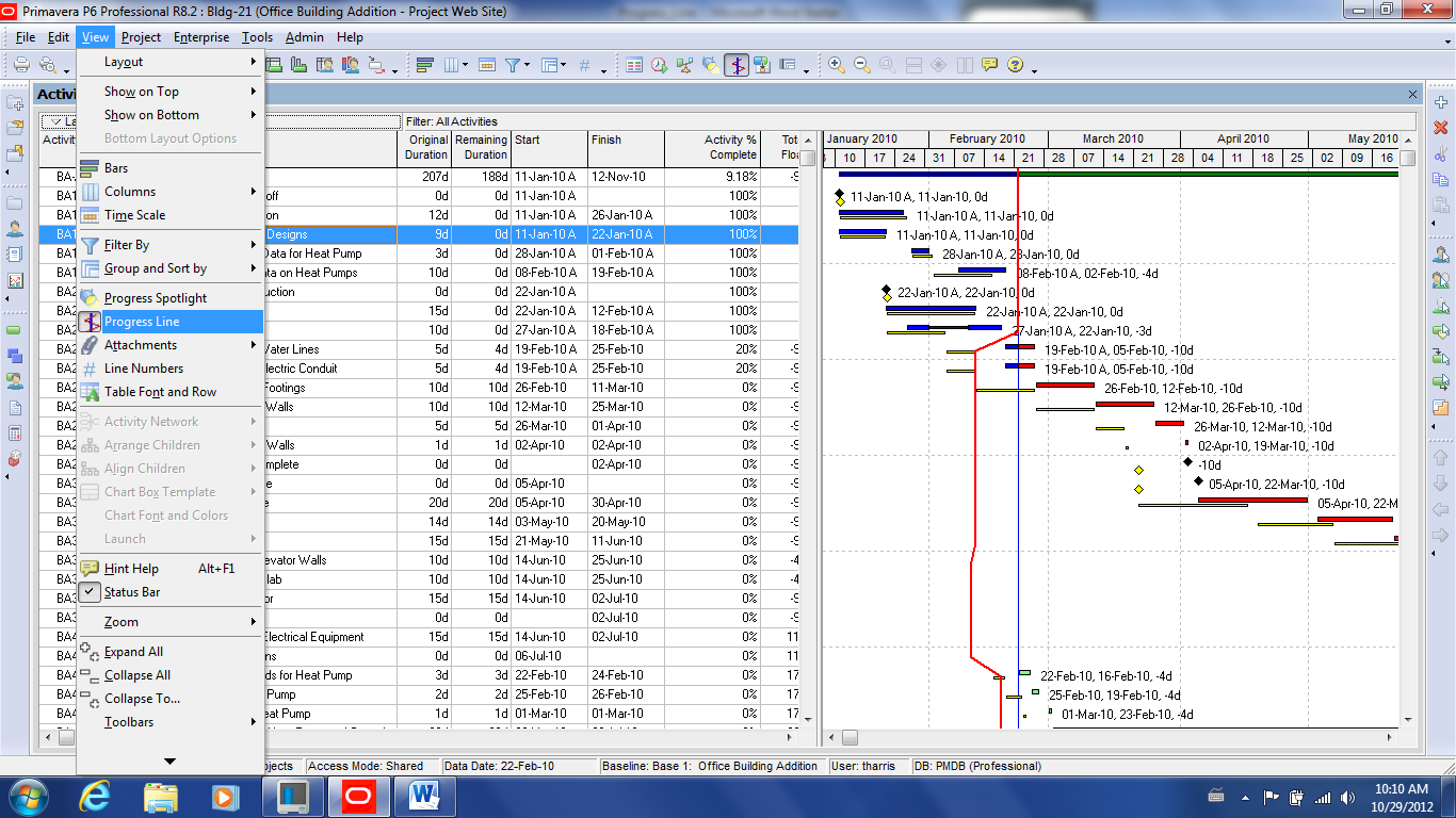 Primavera p6 r82 progress line on the gantt chart projects step 2 access the layout options bar select bar chart options click the progress line tab nvjuhfo Images
